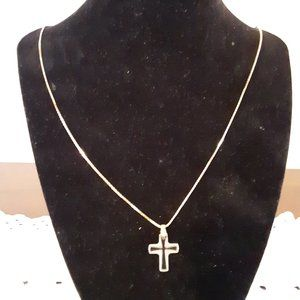 Cross (clear) Pendant with Necklace - Used
